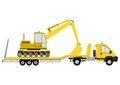 Truck with excavator trailer loaded an on a white background Royalty Free Stock Image