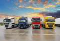 Truck freight transportation at sunset Royalty Free Stock Photo