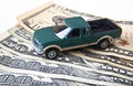 Truck with Money Royalty Free Stock Photography