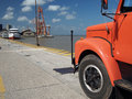 Truck in port a loaded orange leaves belem amazonia brazil it is one of the little ports of south america Royalty Free Stock Images