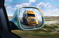 Truck in the rear-view mirror Royalty Free Stock Photo