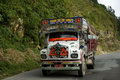 Truck on the road, Bhutan Royalty Free Stock Images