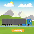Truck on the road. Industrial and mountains landscape. Heavy trailer truck. Logistic and delivery concept. Royalty Free Stock Photo