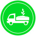 Truck with soil and sprout garden delivery symbol Royalty Free Stock Photo