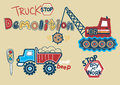 Truck stop demolition boy at work vector illustration of a crane and equipment Stock Photography