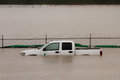 Truck Submerged in Flood Water Royalty Free Stock Photo