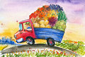 Truck with vegetables Stock Image