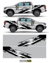 Truck 4 wheel drive and car graphic vector. abstract lines with gray background design for vehicle vinyl wrap