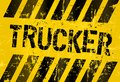 Trucker sign grungy industrial style illustration Stock Photo