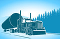 Trucking big car on the road image is presented Stock Image