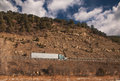 Trucking on freeway mountain western u s Royalty Free Stock Images