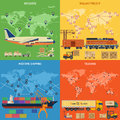 Trucking industry banners with railway freight air cargo maritime shipping and in flat style icons vector for brochure Royalty Free Stock Photography