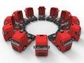 Trucks arranged in a circular array