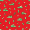 Trucks, cars, Christmas gifts and candies pattern.