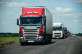Trucks convoy on the road Royalty Free Stock Photo
