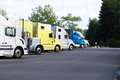Trucks at rest area lined up a stop in oregon Stock Photography