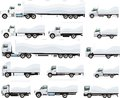Trucks set of for transportation of goods for different purposes Stock Photography