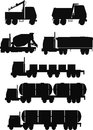 Trucks silhouette set of various types in Stock Photo