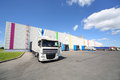 Trucks stand near warehouse of caparol factory moscow june on june in moscow russia company has branches in russia Royalty Free Stock Image