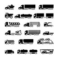 Trucks trailers and vehicles icons set isolated on white Stock Image