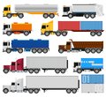 Trucks and trailers on a white background delivery shipping cargo semi for infographics or design Stock Images
