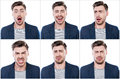 True emotions collage of handsome young man expressing different while standing against white background Royalty Free Stock Photography