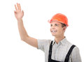 True hunky figure confident worker on white background Stock Photography
