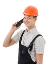 True hunky figure confident worker on white background Stock Image