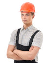 True hunky figure confident worker on white background Stock Photo