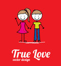 True love card over red background vector illustration Royalty Free Stock Image