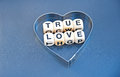 True love text in black upper case letters inscribed on small white cubes placed inside silver heart on a gray background Royalty Free Stock Image
