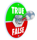 True vs false toggle switch choose honesty sincerity and words on with lever flipped into the truth position to illustrate the Royalty Free Stock Images