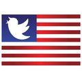 Trump Bird Icon on Blue and Red Stripes Flag Background. Vector Cartoon Illustration. June 11, 2017