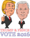 Trump and pence vote illustration showing republican candidate for president donald john vice president mike with words done in Stock Image