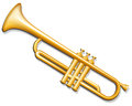 Trumpet brass wind musical instrument vector illustration of Royalty Free Stock Images