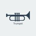 Trumpet icon. Silhouette vector icon