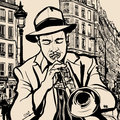 Trumpet player on a cityscape background illustration of of paris Royalty Free Stock Image