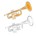 Trumpet set isolated on white Royalty Free Stock Photo