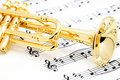 Trumpet and sheet music. Royalty Free Stock Photo