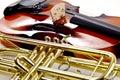 Trumpet and shiny violin close up Royalty Free Stock Photo