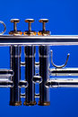Trumpet Valves on Blue Royalty Free Stock Photo