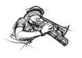 Trumpeter illustration Royalty Free Stock Photo