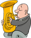 Trumpeter musician cartoon illustration of playing the tuba wind instrument Stock Images
