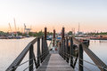 Truss bridge to the jetty in the trave harbor hamburg travehafen basin district steinwerder port is a basin for river vessels Royalty Free Stock Images