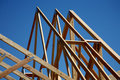 Trusses - New Home Construction Stock Photo