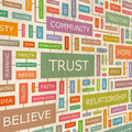 Trust concept related words in tag cloud conceptual info text graphic word collage Stock Image