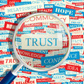 Trust concept related words in tag cloud conceptual info text graphic word collage Royalty Free Stock Photography