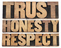 Trust honesty respect words collage of isolated text in vintage letterpress wood type printing blocks Royalty Free Stock Photo