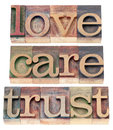 Trust love respect in wood type words relationship concept isolated text letterpress Royalty Free Stock Image