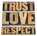 Trust love and respect word abstract isolated text in vintage letterpress wood type Stock Photo